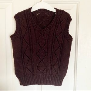 Handmade Brown Knit Vest For Toddlers